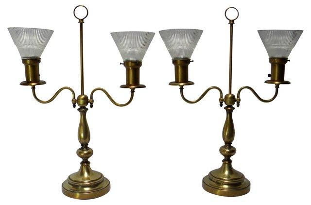 Brass Bouillotte Lamps, Pair