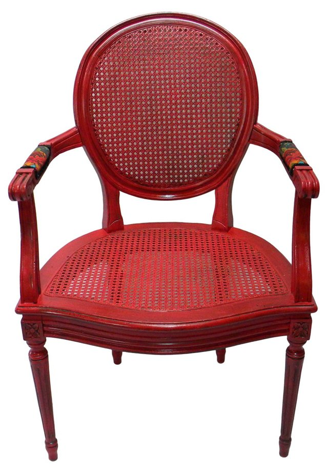 Red  Caned Occasional Chair