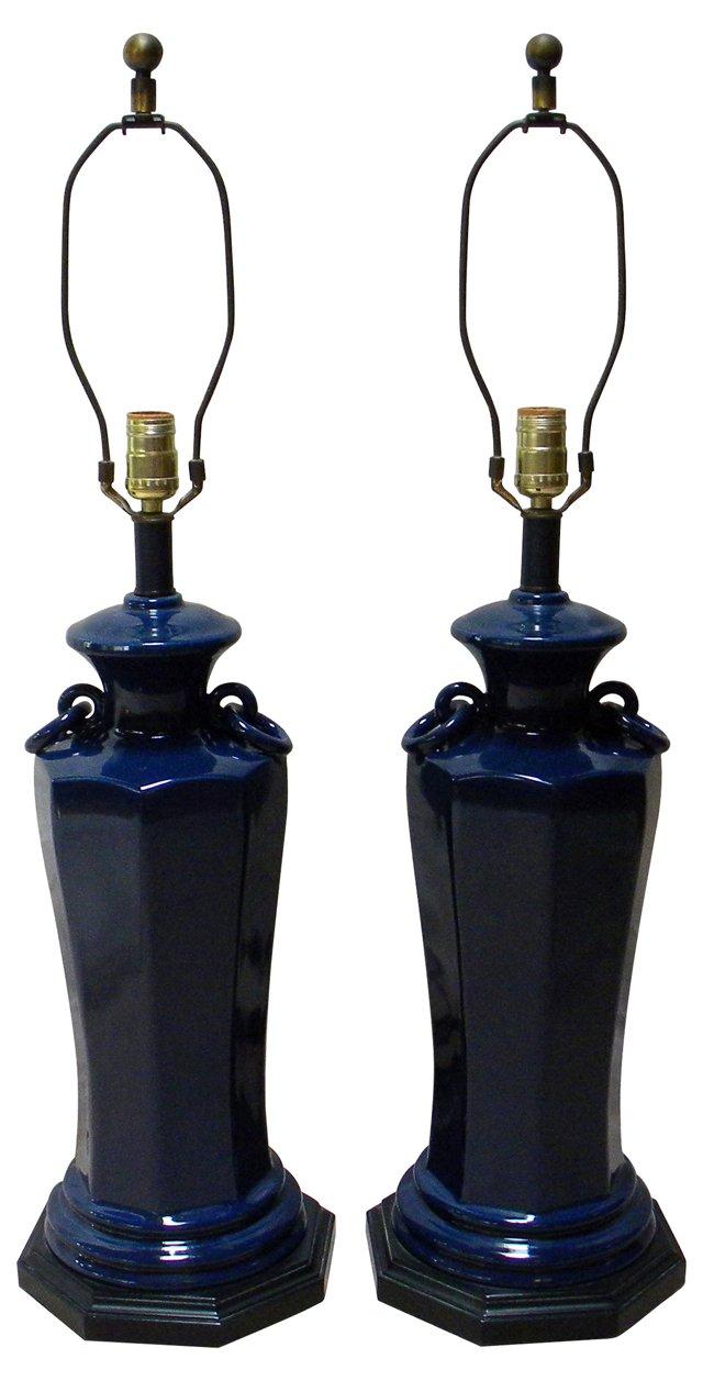 Navy Ceramic Lamps, Pair