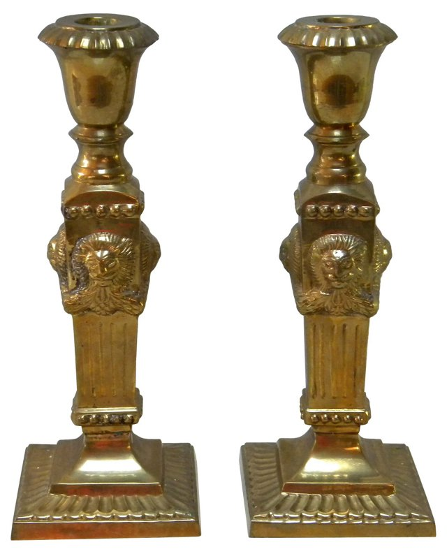 Lion's Head Brass Candleholders, Pair