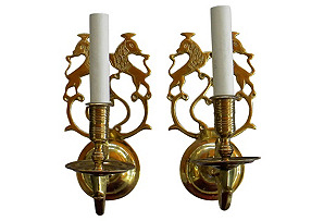 Asian-Style Brass Sconces, S/2