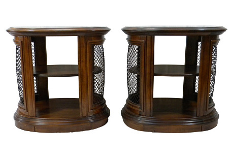 Oval Two-Tiered Side Tables, S/2
