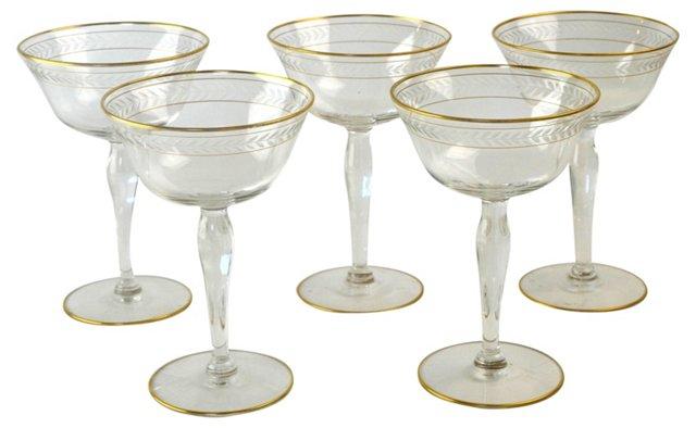 Golden Wine Goblets, Set of 5