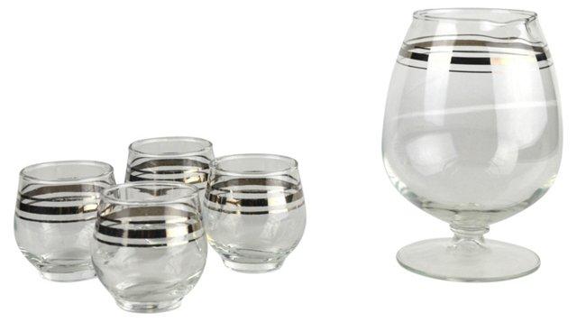 Cocktail Mixer & 4 Glasses