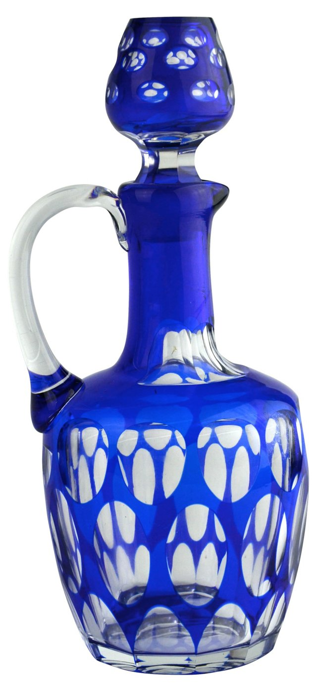 Cobalt Blue Glass Decanter