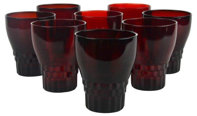 Crimson Rocks Glasses, Set of 8
