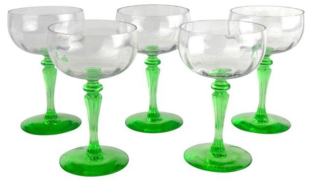 Green-Stemmed Wine Glasses, S/5