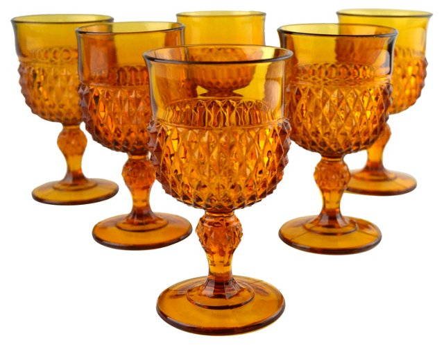 Amber Pressed Glass Goblets, S/6