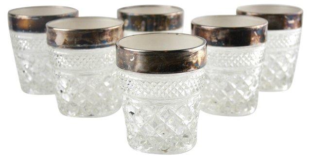 Silver-Rimmed Rocks Glasses, S/6
