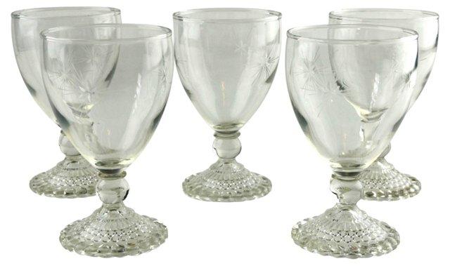 Etched Goblets, Set of 5