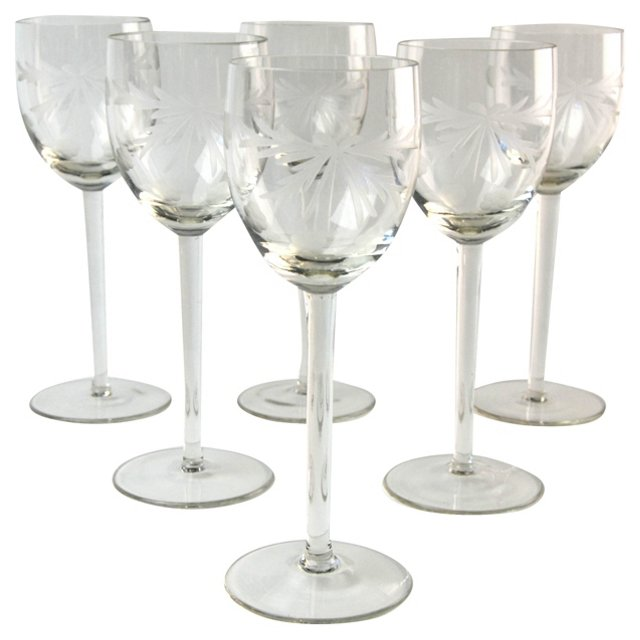 Etched Wine Stems, Set of 6