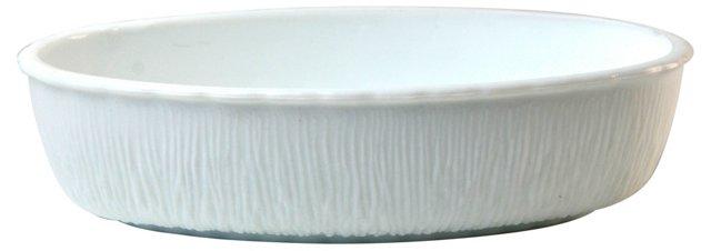 Textured White Glass Serving Dish