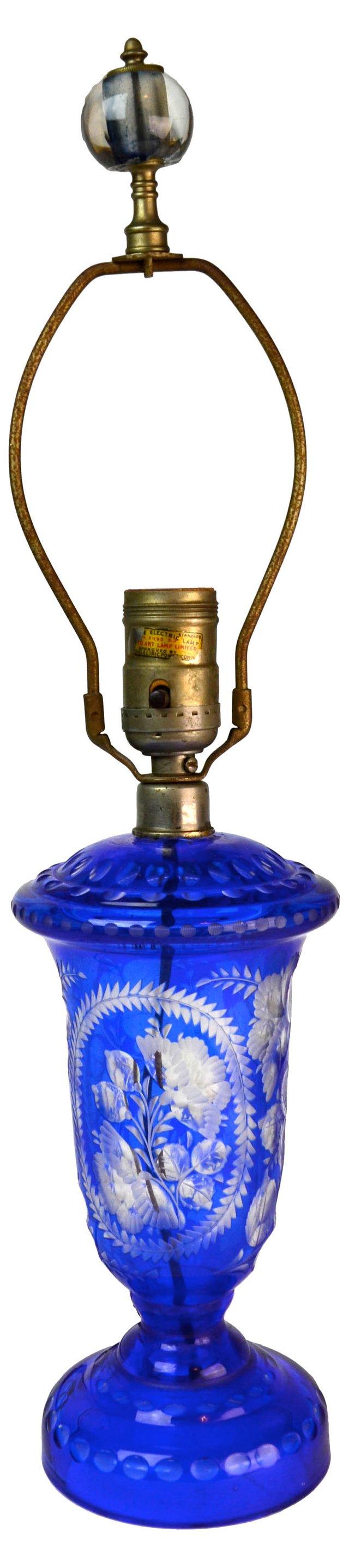 Cobalt Glass  Lamp