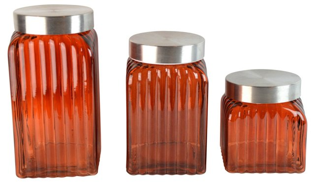 Amber Glass Canisters, S/3