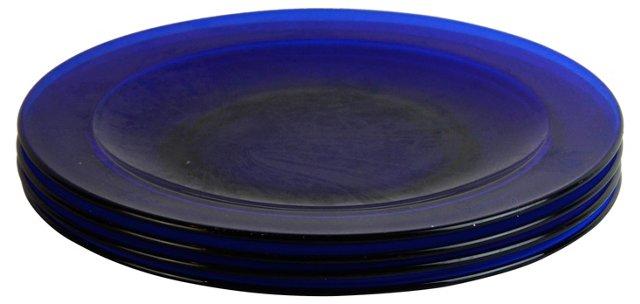 Cobalt Glass Salad Plates, S/4