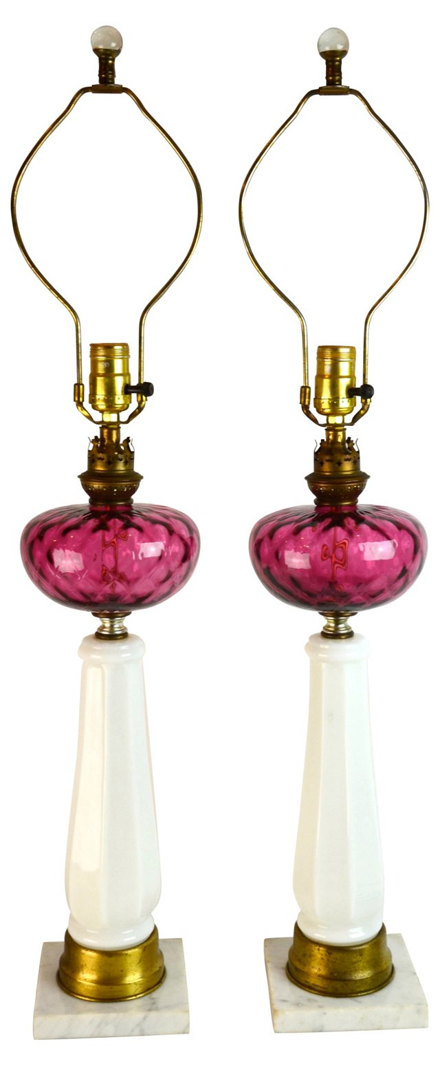 Milk Glass & Marble Lamps, Pair