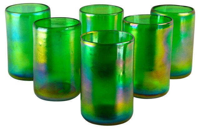 Green Luster Tumblers, S/6