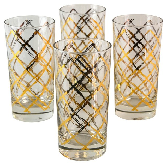Georges Briard Gold Tumblers, S/4