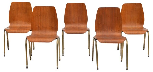 Midcentury Dining Chairs, S/5