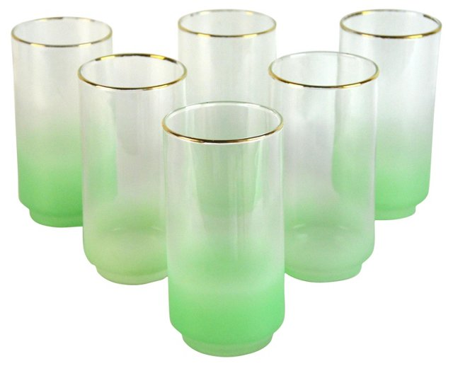 Green Ombré Cocktail Glasses, S/6