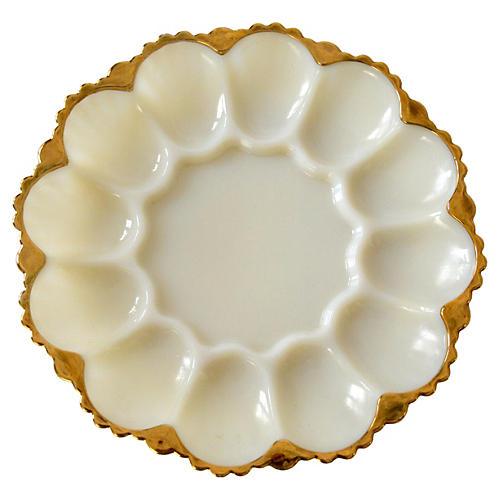Ivory Milkglass Egg Platter