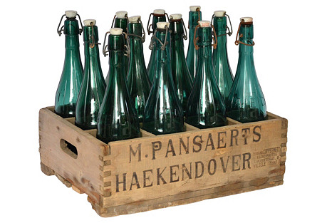 Belgian Beer Crate & Bottles, 13 Pcs