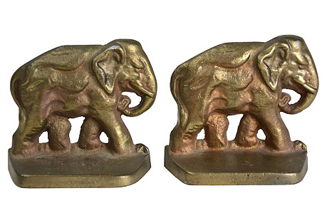 Elephant Bookends, Pair