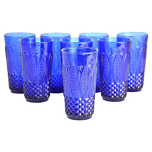 French Cobalt Tumblers, S/8