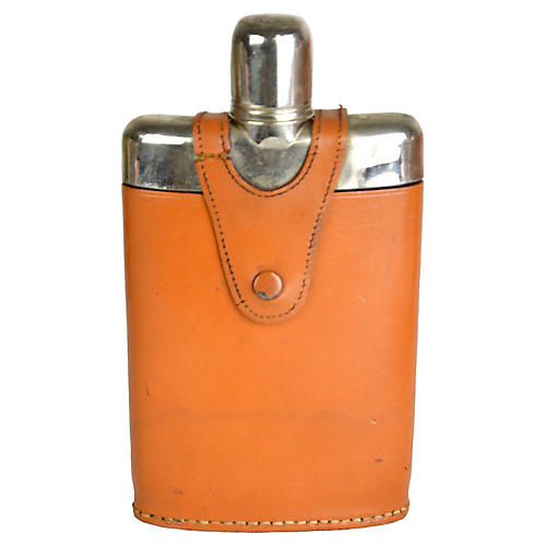 Leather-Wrapped Liquor Flask
