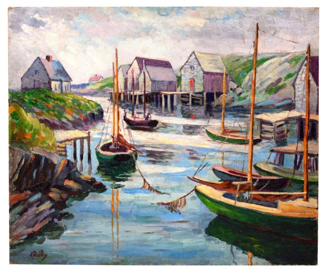 Boats in Canadian Harbor, Earl Bailly