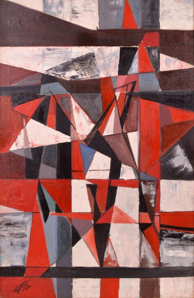 Geometric Red Abstract, Irene Zevon