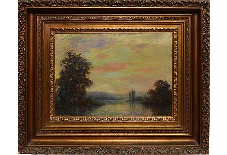 Sunset Lake Landscape, by Fred J. Boston