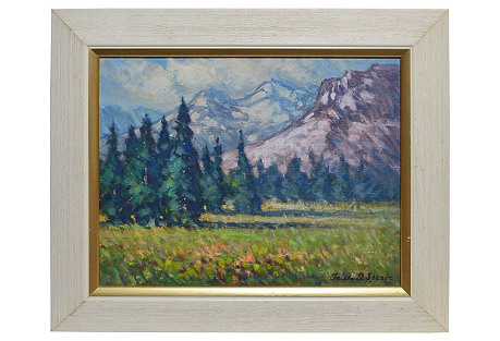 Western Mountain Landscape with Flowers