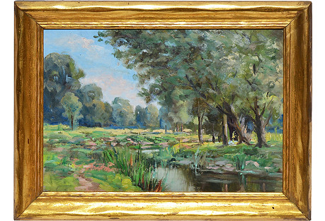 River Landscape with Flowers