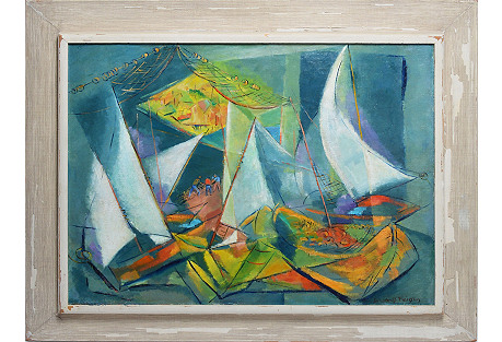Cubist Harbor View by Dorothy Feigin