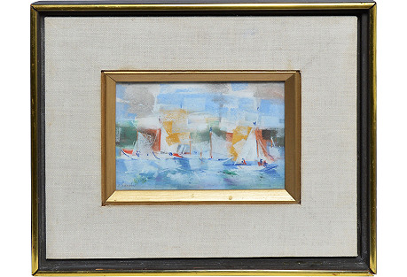 Modernist Seascape with Sailboats
