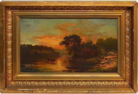 Hudson River School Sunset Landscape