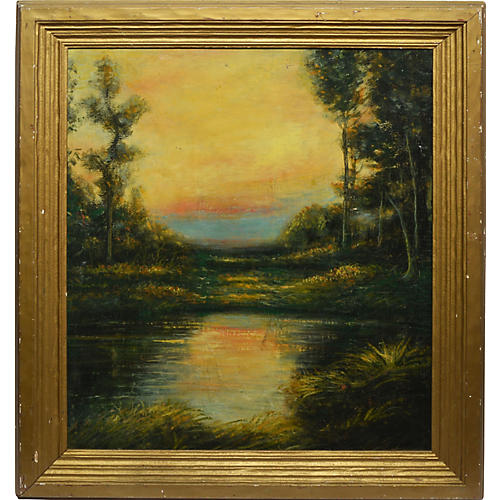 Tonalist Sunset Landscape