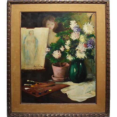 Impressionist Nude w/ Flowers