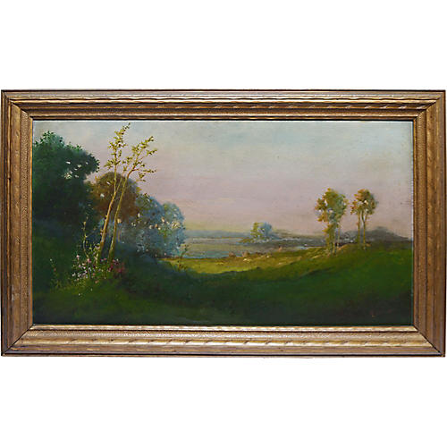 Impressionist Valley Sunset Landscape