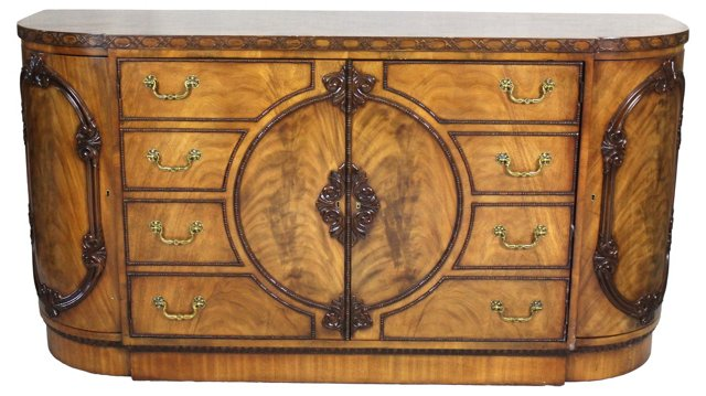 Curved Burled Wood   Buffet