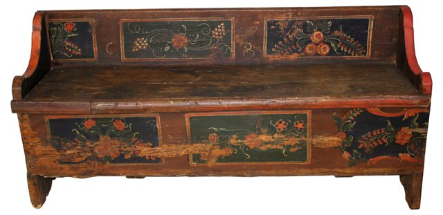 Antique Hand-Painted Storage Bench
