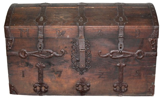 Oversized 18th-C. Wooden Trunk