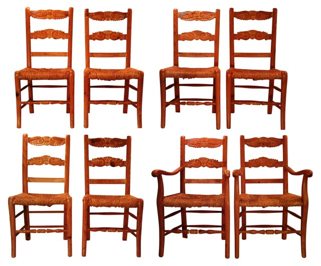 Dining Chairs w/ Rush Seats, Set of 8