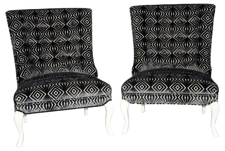 1960s  Slipper  Chairs, Pair