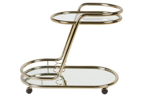 Polished    Brass Bar Cart