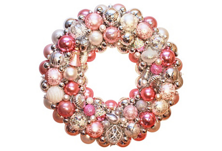Pink & Silver Ornament Wreath