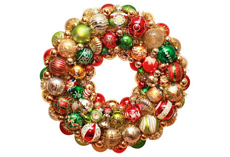Red & Green Christmas Ornament Wreath