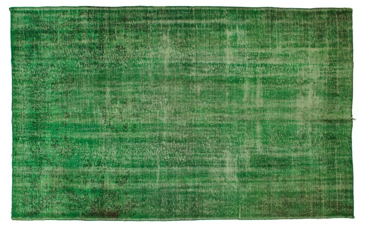 """Green Overdyed Rug, 6'1"""" x  9'7"""""""