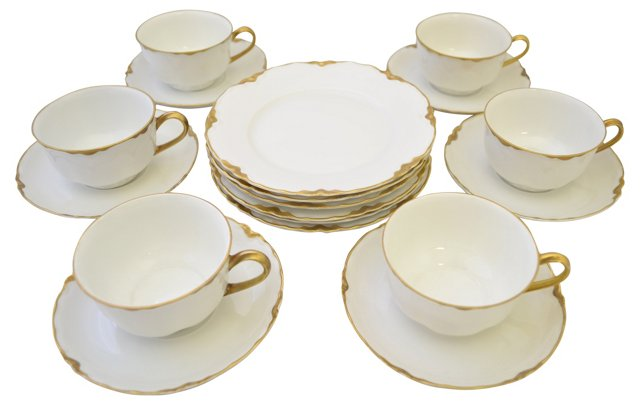 19th-C. Tea & Dessert Set, Svc. for 6